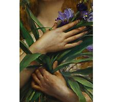 Woman Holding Irises, French Pre-Raphaelite painting Photographic Print