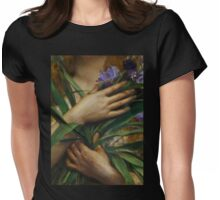 Woman Holding Irises, French Pre-Raphaelite painting Womens Fitted T-Shirt