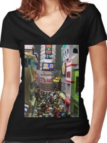Corruption Square Women's Fitted V-Neck T-Shirt