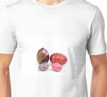 hand painted easter eggs on white table Unisex T-Shirt