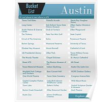 Austin Bucket List Blue - 50 Things to do in ATX Texas Poster