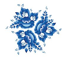 Gzhel blue flowers and leaves Photographic Print