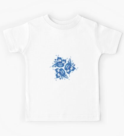 Gzhel blue flowers and leaves Kids Tee