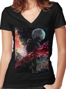 Tokyo ghoul Awesome  Women's Fitted V-Neck T-Shirt
