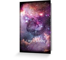 Space cat sees you sinning Greeting Card