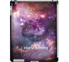Space cat sees you sinning iPad Case/Skin