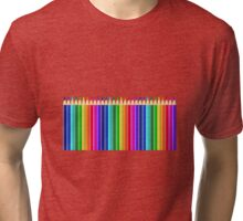 Rainbow of Colorful Colored Pencils or Crayons Tri-blend T-Shirt