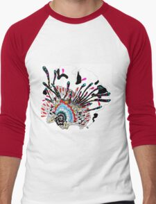 Psychedelic coral abstract flower Men's Baseball ¾ T-Shirt