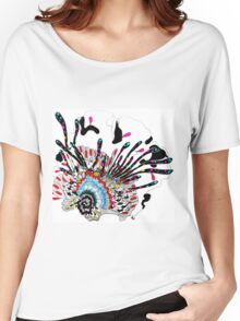 Psychedelic coral abstract flower Women's Relaxed Fit T-Shirt