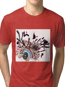 Psychedelic coral abstract flower Tri-blend T-Shirt