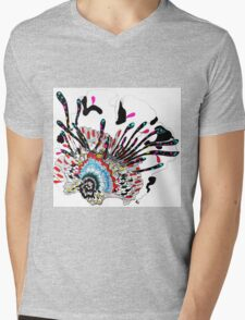 Psychedelic coral abstract flower Mens V-Neck T-Shirt