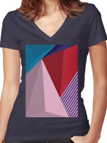 Abstract Modernist Women's Fitted V-Neck T-Shirt