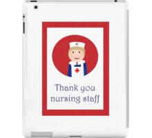 Thank you nursing staff, nurse in apron and cap with red cross. iPad Case/Skin