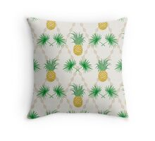 Exotic tropical seamless pattern palm branches and pineapples Throw Pillow
