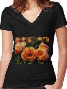 Unique Beauty - Flower Art Women's Fitted V-Neck T-Shirt