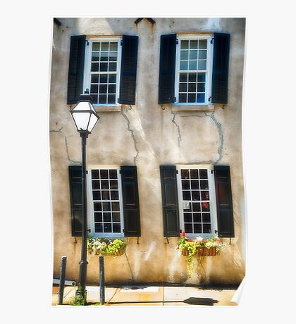 Charleston Windows And Lamp Post  Poster