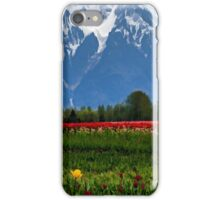 Mountain View Over A Field Of Tulips iPhone Case/Skin