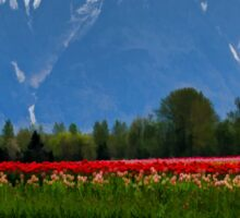 Mountain View Over A Field Of Tulips Sticker