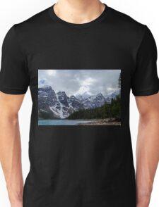 Moraine Lake Nestled In The Valley Of The Ten Peaks - Banff National Park Unisex T-Shirt