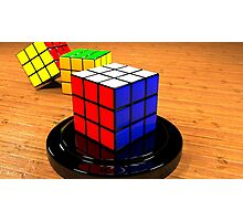3D Rubiks Cube Photographic Print