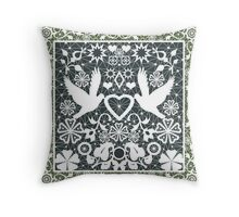 White lace pattern with pigeons on green Throw Pillow