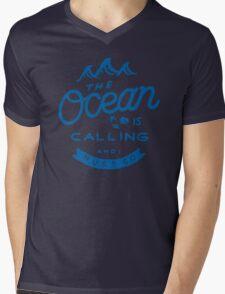 The Ocean is Calling Mens V-Neck T-Shirt