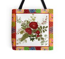 Patchwork retro floral with poppy Tote Bag