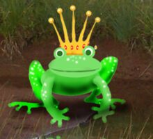 Happy Birthday Princess, green frog and crown. Sticker