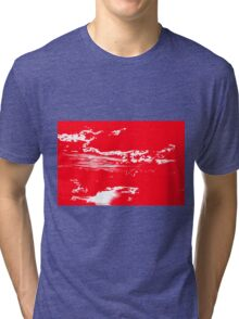 Sunset & Clouds in Red and White Tri-blend T-Shirt