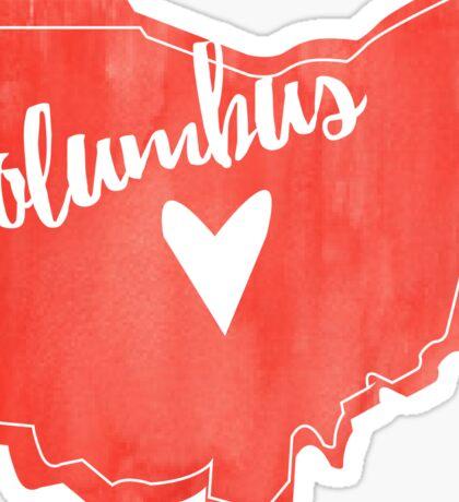 Columbus Heart Ohio Outline Watercolor Sticker
