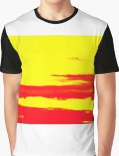 Sky and Clouds in Psychedelic Yellow and Red Graphic T-Shirt