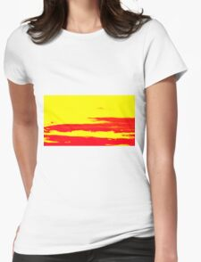 Sky and Clouds in Psychedelic Yellow and Red Womens Fitted T-Shirt