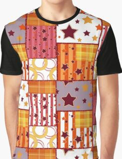Patchwork seamless bright retro checkered stars elements pattern background Graphic T-Shirt
