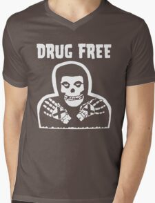 Drug Free Mens V-Neck T-Shirt