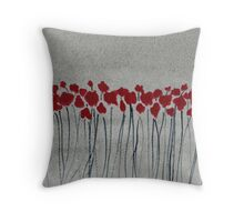 Red Poppies - Watercolor Painting Throw Pillow