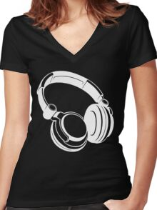 Gift Headphones Women's Fitted V-Neck T-Shirt