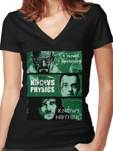 John Snow, Heisenberg, Sheldon Cooper Women's Fitted V-Neck T-Shirt