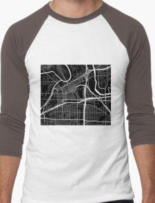 Fort Worth Map - Black Men's Baseball ¾ T-Shirt