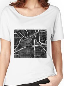 Fort Worth Map - Black Women's Relaxed Fit T-Shirt