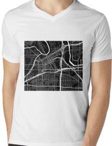 Fort Worth Map - Black Mens V-Neck T-Shirt