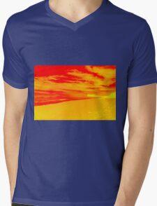Psychedelic Beach Sunset Mens V-Neck T-Shirt