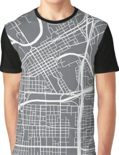 Fort Worth Map - Grey Graphic T-Shirt
