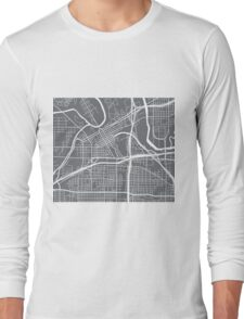 Fort Worth Map - Grey Long Sleeve T-Shirt