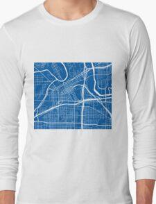 Fort Worth Map - Deep Blue Long Sleeve T-Shirt