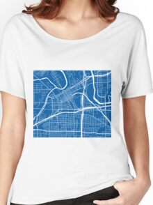 Fort Worth Map - Deep Blue Women's Relaxed Fit T-Shirt