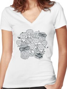 White roses and owls Women's Fitted V-Neck T-Shirt