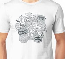White roses and owls Unisex T-Shirt
