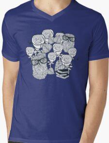 White roses and owls Mens V-Neck T-Shirt