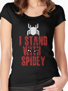 I Stand With Team Spidey - New Spiderman Logo Women's Fitted Scoop T-Shirt