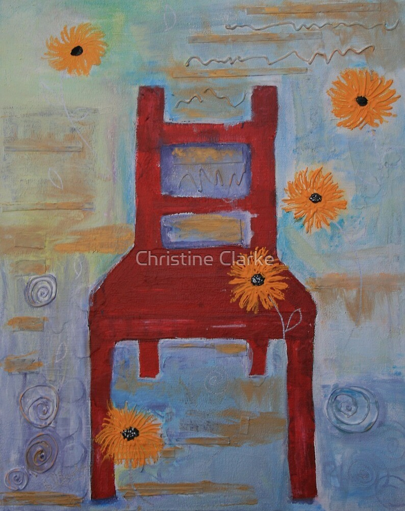 Red Chair with Yellow Chrysanthemums by Christine Clarke